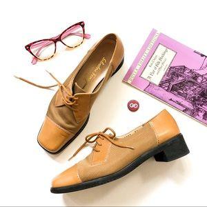Salvatore Ferragamo Tan Block Heel Loafers